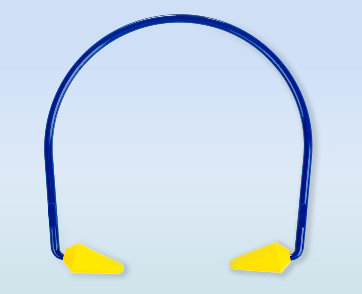 One set of blue and yellow canal caps used to protect hearing.