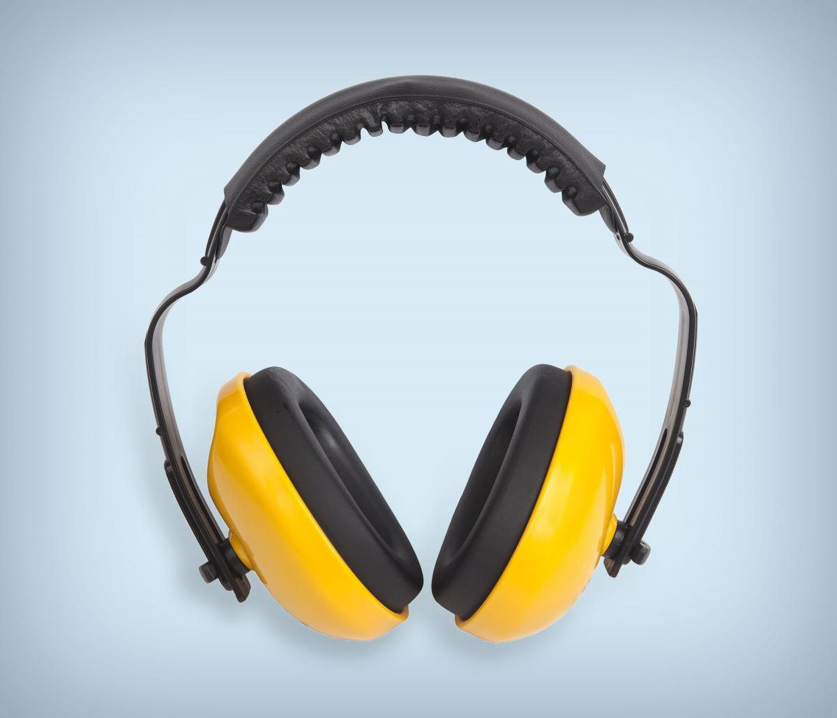 Yellow and black earmuffs used to protect hearing.