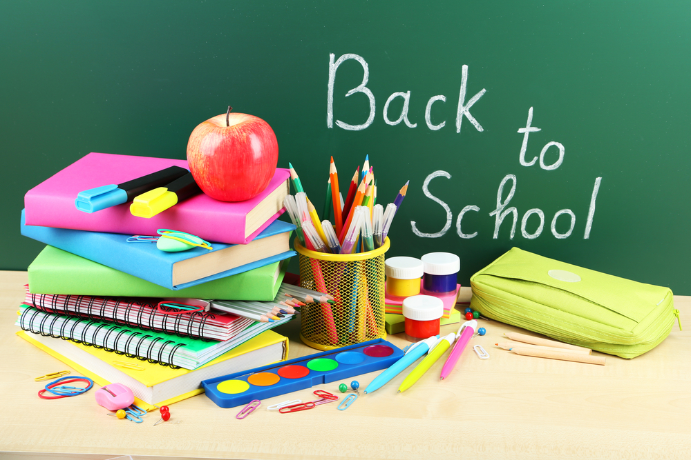 Back to school checklist on a chalk board