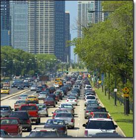Cars in traffic in a city