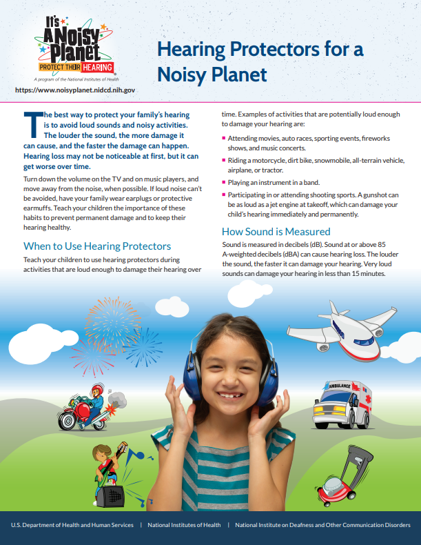 Thumbnail of fact sheet titled, Hearing Protectors for a Noisy Planet.