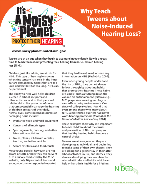 Why Teach Tweens about Noise-Induced Hearing Loss?