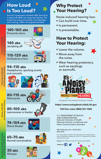 A bookmark with cartoon pictures of a fireworks show, jet taking off, ambulance with the siren on, girl listening to music on a device with headphones, boy catching a baseball with a baseball glove, musician playing loud music, man riding a motorcycle, lawnmower, boy and girl watching a movie in a movie theater, woman and child on the beach speaking to each other, and boy whispering in another boy's ear.