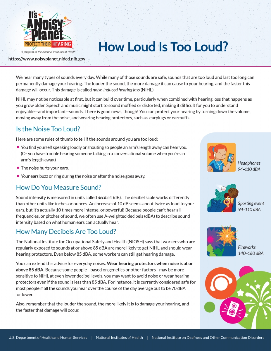 How Loud Is Too Loud factsheet
