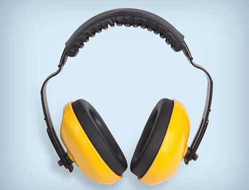Earmuffs used to protect hearing.
