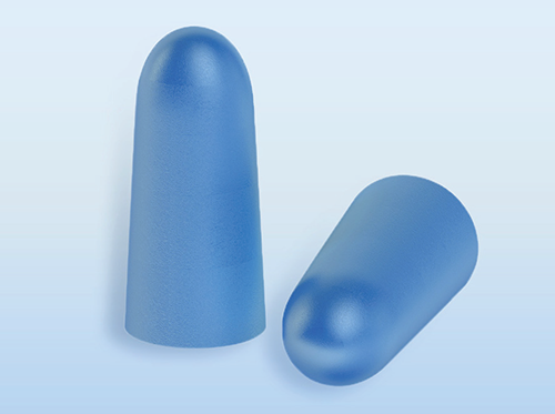 A pair of foam earplugs.