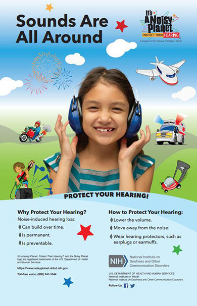 Sounds Are All Around, A poster that discusses why and how to protect your hearing.
