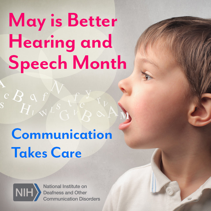 May is Better Hearing and Speech Month. Communication takes care. A young boy speaking letters.
