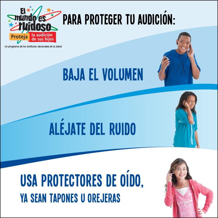 Niños protegiendo su audición al bajar el volumen, alejarse del ruido y usar protectores de oído.
