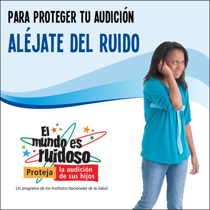 Una niña joven cubriendo sus oídos y alejándose del ruido.