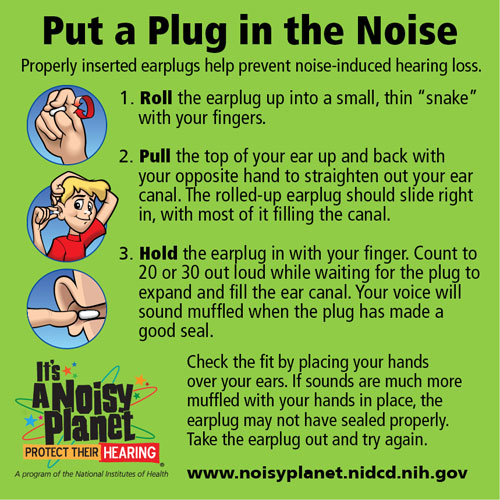 An infographic with cartoon drawings of a young boy demonstrating how to insert earplugs.