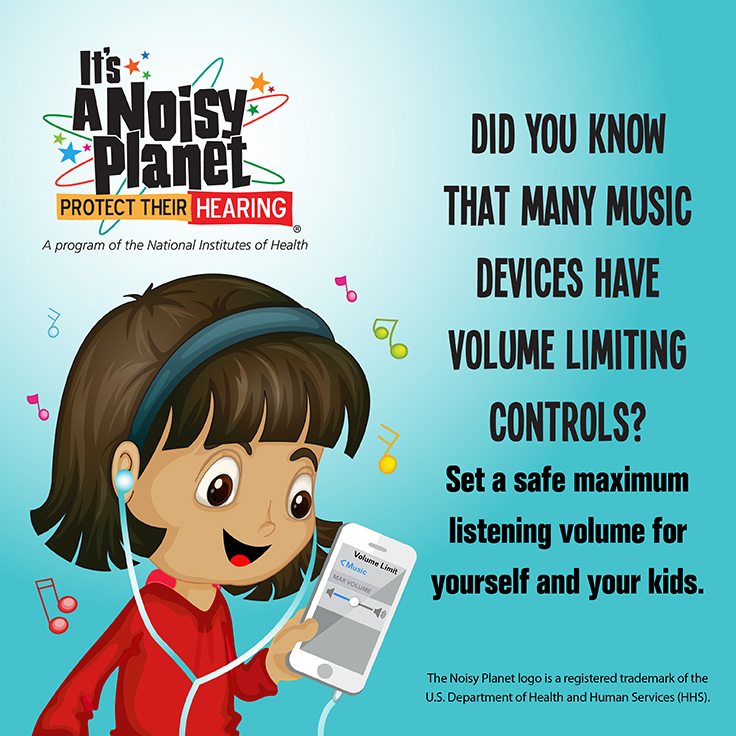 A cartoon picture of a young girl listening to a portable music device with earbuds.
