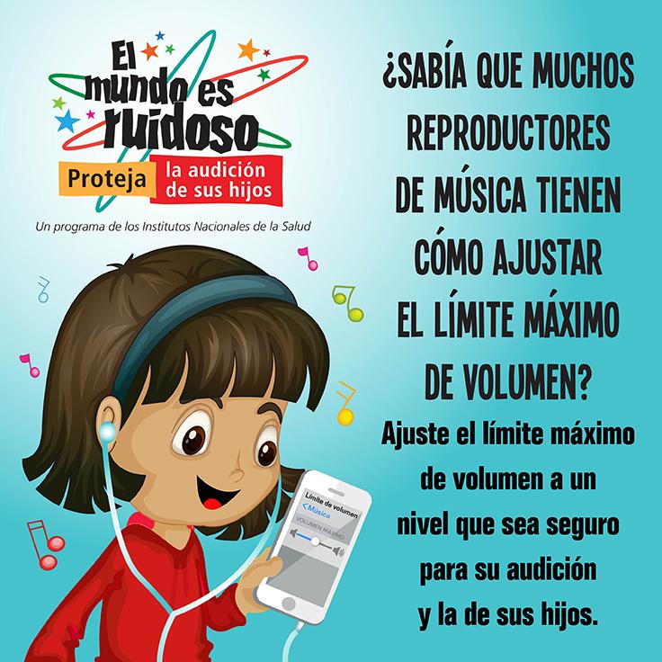 Una imagen tipo caricatura de una niña pequeña escuchando música en reproductor de música portátil. La niña está usando auriculares.