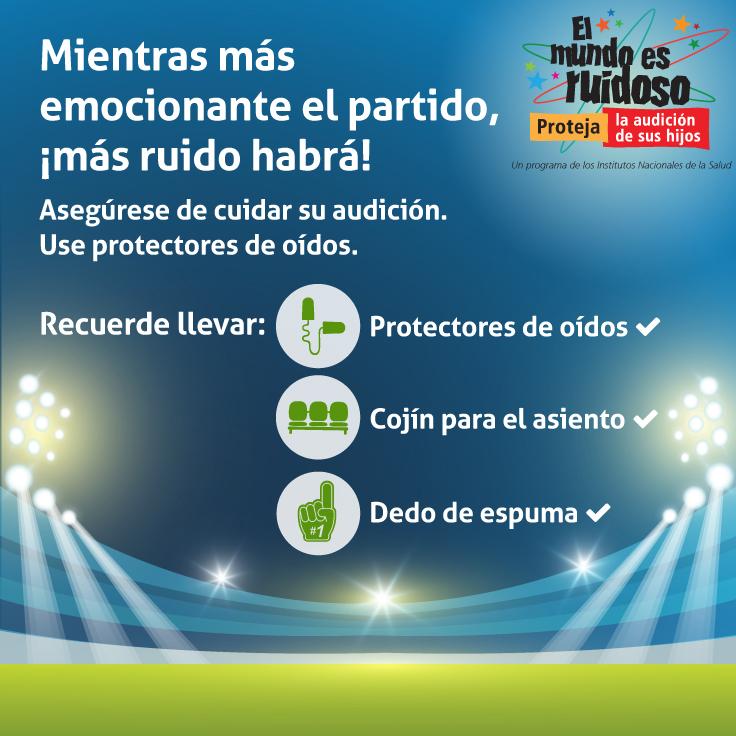 Ilustración de un estadio deportivo iluminado con los siguientes iconos: tapones para los oídos, asientos del estadio y un dedo de espuma señalando el número uno.