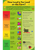 A poster that presents the decibel levels of various electronic devices, vehicles, machinery, and conversations, and discusses ways to protect your hearing. How Loud Is Too Loud? poster