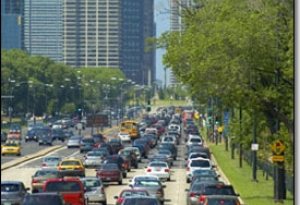 Cars in traffic in a city