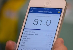 iPhone displaying the NIOSH Sound Level Meter app.