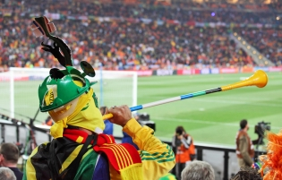 Soccer fan holding a vuvuzela at a game