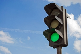 Traffic Light Displaying Green