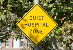 Quiet Hospital Zone sign.