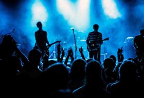 Rock band performing in concert