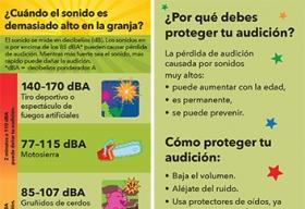 Marcador de libros que muestra los sonidos comunes de la granja y el nivel de decibelios asociado.