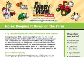 The first page of a fact sheet on keeping noise down on the farm. Cartoon images of a silo, a chainsaw, a combine, a tractor, and a rooster are at the top of the fact sheet.
