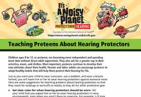 The first page of a fact sheet on hearing protectors. Cartoon images of a race car, a motorcycle, a lawn mower, a rock star singing while holding a guitar, and a portable music device with earbuds are at the top of the fact sheet.