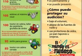 Un marcador de libros con imágenes de dibujos animados de un petardo, una motosierra, un aparato de audio con auriculares, un tractor, un pollo y una granja.